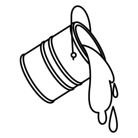 Paint bucket spilling icon in black contour vector illustration.