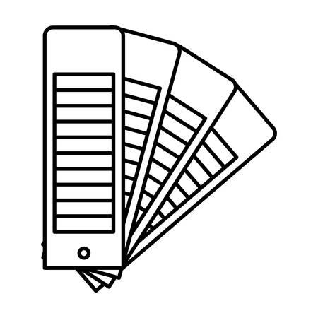 Color palette guide scale set in black contour vector illustration. Ilustrace