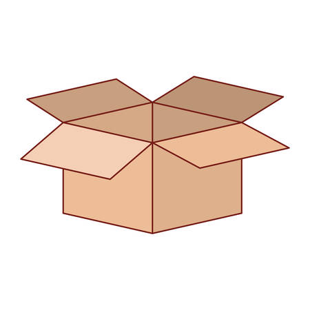 Cardboard box opened in colorful silhouette with thin red contour vector illustration.