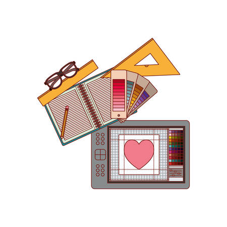 Notebook and design tools and tablet digitizer in colorful silhouette with thin red contour vector illustration.