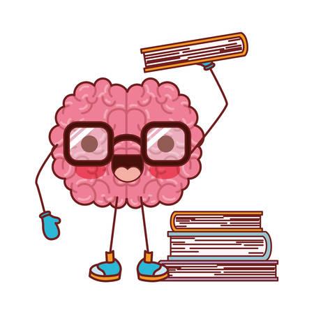 Brain character learning book, mind intelligence neurology. Fun cartoon caricature comic graphic vector illustration.
