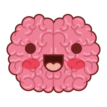 brain science cartoon character fun comic mind intelligence mental design creative think vector illustration