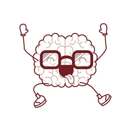 Brain cartoon expression mind intelligence neurology fun caricature comic graphic vector illustration Illustration