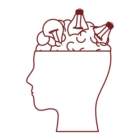 Human head face brain science mind intelligence vector illustration Illustration