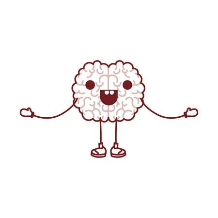 Brain science cartoon character fun comic mind intelligence mental design creative think vector illustration