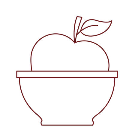 apple fruit natural health agriculture bowl vitamin vector illustration