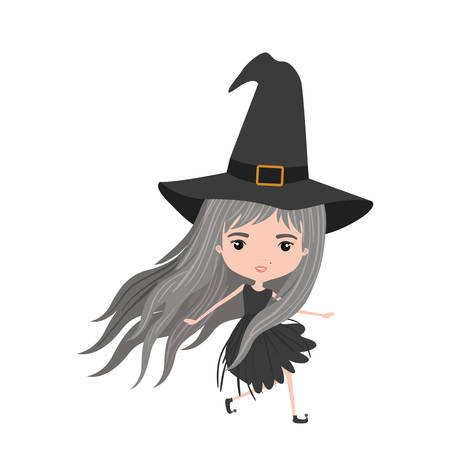 cute witch in colorful silhouette over white background vector illustration Illustration