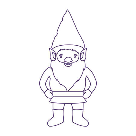 gnome with costume in purple contour over white background vector illustration