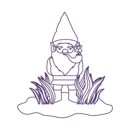 gnome coming out of the bushes with smoking pipe in purple contour over white background vector illustration Illustration