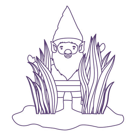 gnome coming out of the bushes in purple contour over white background vector illustration