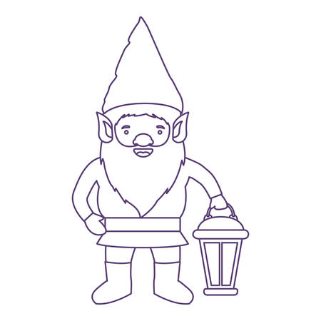 gnome with hand lamp in purple contour over white background vector illustration Illustration