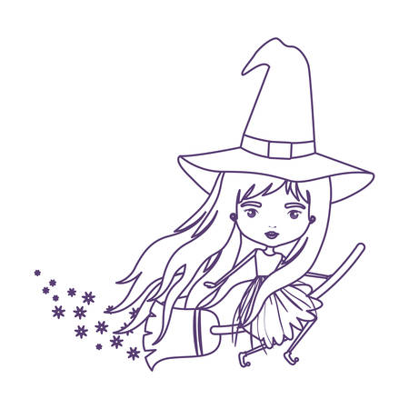 cute witch flying with broom and trace of stars in purple contour over white background vector illustration Illustration