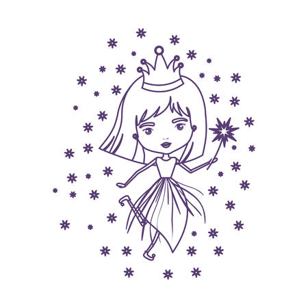 A princess fairy with crown and magic wand and stars in purple contour over white background vector illustration