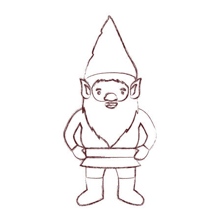 A gnome with costume in brown blurred silhouette vector illustration