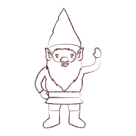 A gnome with costume and gesture of greeting in brown blurred silhouette vector illustration Illustration