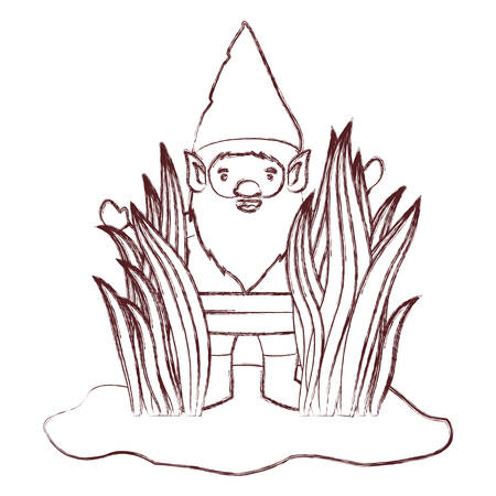 A gnome coming out of the bushes in brown blurred silhouette vector illustration