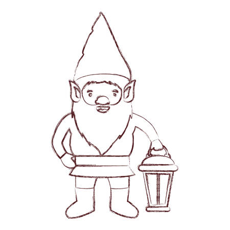 A gnome with hand lamp in brown blurred silhouette vector illustration