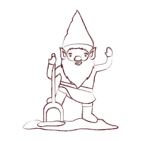 gnome with costume and shovel in brown blurred silhouette vector illustration Illustration