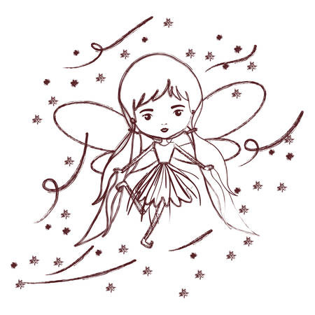 girly fairy flying with wings and pigtails hairstyle and stars in brown blurred silhouette vector illustration