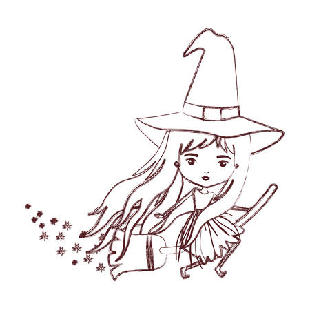 cute witch flying with broom and trace of stars in brown blurred silhouette vector illustration