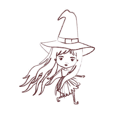 cute witch in brown blurred silhouette vector illustration