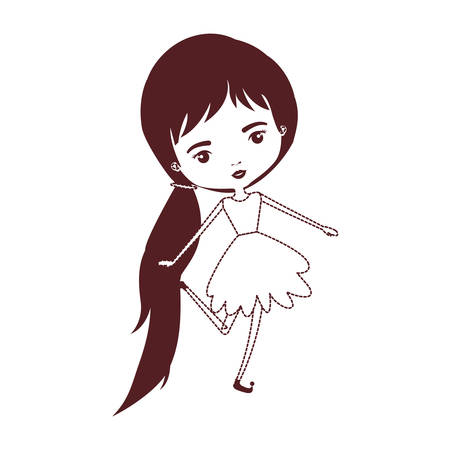 girly fairy without wings and long hair with pigtail and dress in brown dotted silhouette vector illustration Иллюстрация
