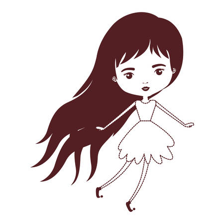 girly fairy without wings and long hair and dress in brown dotted silhouette vector illustration Illustration