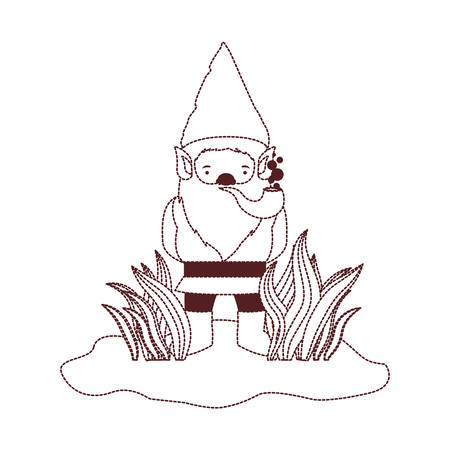 gnome coming out of the bushes with smoking pipe in brown dotted silhouette vector illustration Illustration