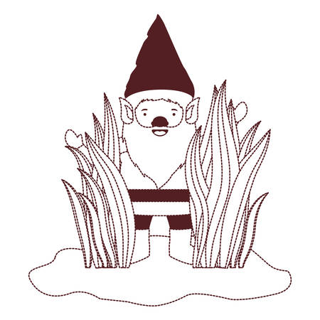 gnome coming out of the bushes in brown dotted silhouette vector illustration Illustration