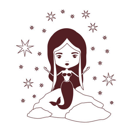 Mermaid in a rock with stars in brown dotted silhouette vector illustration.