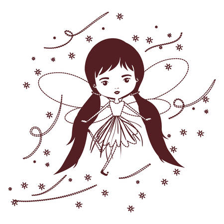 girly fairy flying with wings and pigtails hairstyle and stars in brown dotted silhouette vector illustration