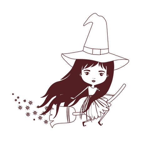 cute witch flying with broom and trace of stars in brown dotted silhouette vector illustration Illustration