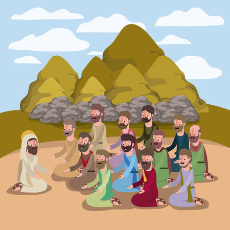 Holy week biblical scene vector illustration design.