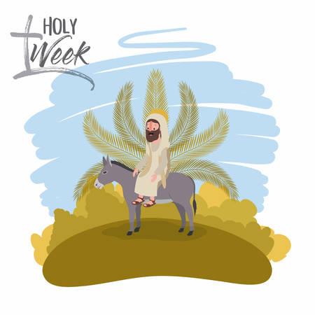 Holy week biblical scene vector illustration design.