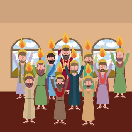 Progettazione biblica dell'illustrazione di vettore di scena della settimana santa