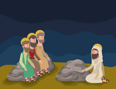 Progettazione biblica dell'illustrazione di vettore di scena della settimana santa Vettoriali