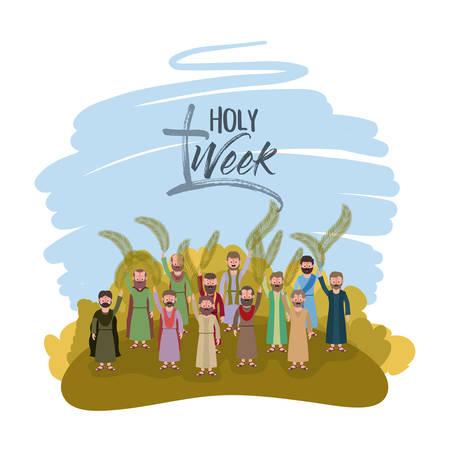 Progettazione biblica dell'illustrazione di vettore di scena della settimana santa.