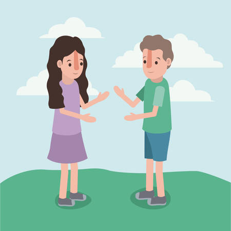 Boy and girl standing Illustration