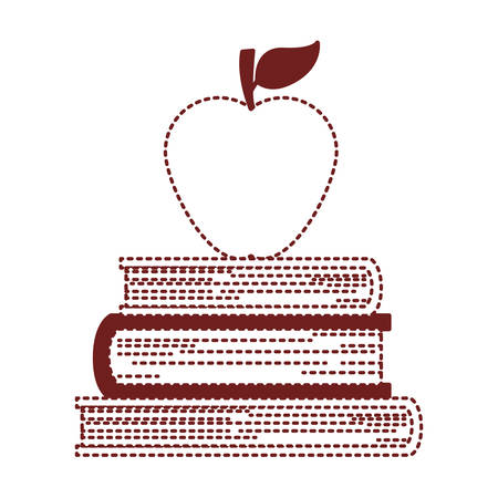 pile text books with apple vector illustration design