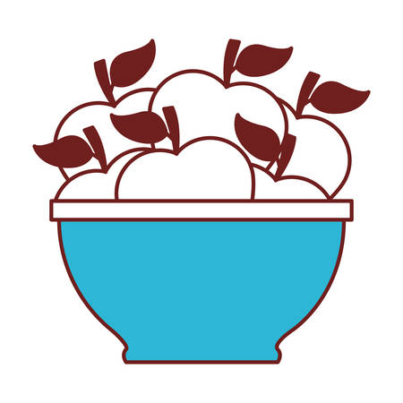 bowl with apples icon vector illustration design