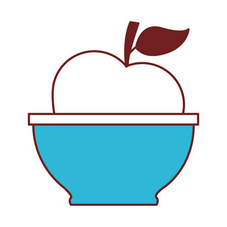 Bowl with apple icon vector illustration design