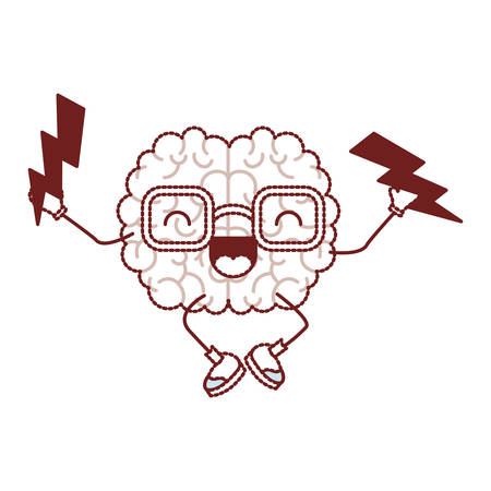 Comic brain with thunders kawaii character vector illustration design