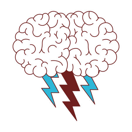 brain with thunders icon vector illustration design