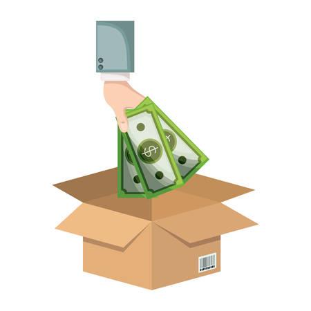 Hand saver depositing bills in box icon vector illustration design
