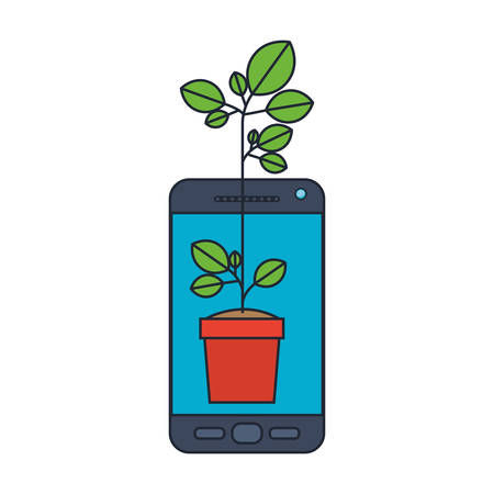 Smartphone with plant in pot vector illustration design Illustration