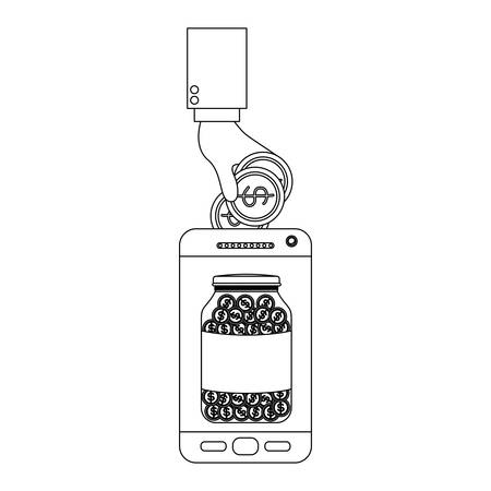 smartphone with hand saver online vector illustration design
