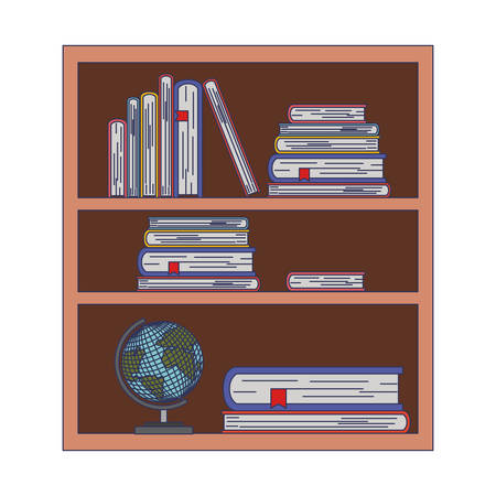 Bookcase with world planet icon vector illustration design Illustration