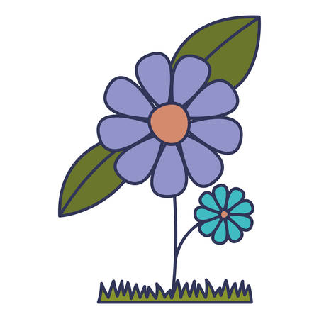 flower and leafs cultivated vector illustration design Illustration