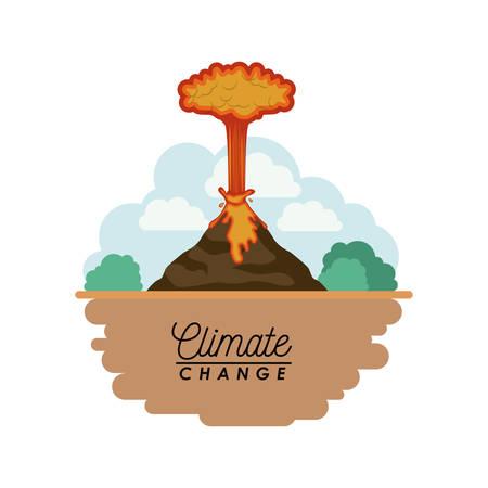 Effects of climate change vector illustration design, volcanic eruption in cartoon illustration. Illustration