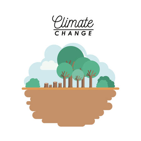 Effects of climate change vector illustration design, cut tree in cartoon illustration.